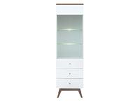 Шкаф REG1W2S с подсветкой лиственница сибирская золотая / белый HEDA