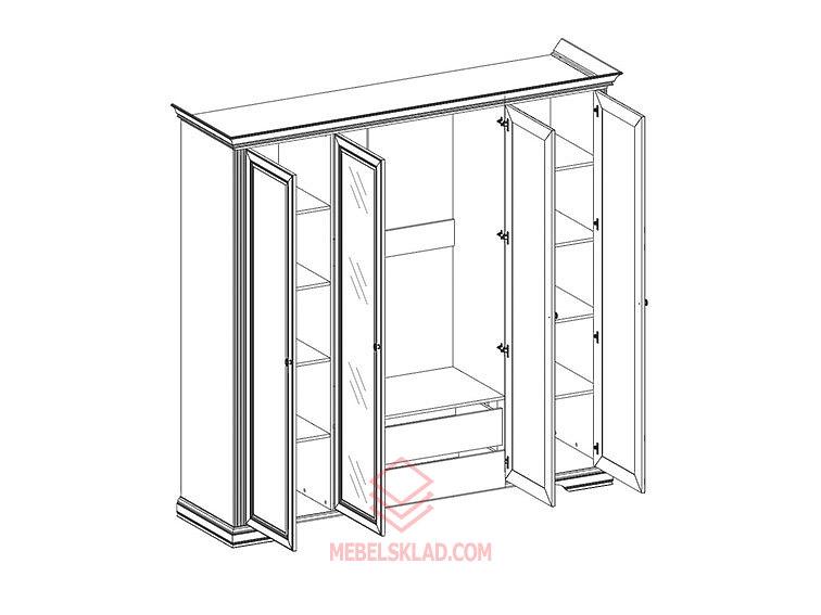 Шкаф 4D(2S) сосна серебряная ВАЙТ за 43350 ₽