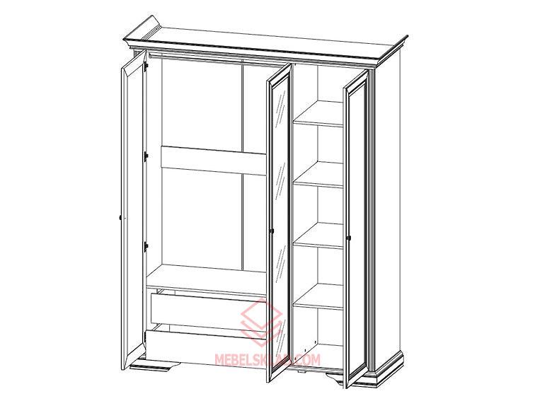 Шкаф 3D(2S) сосна серебряная ВАЙТ за 33741 ₽